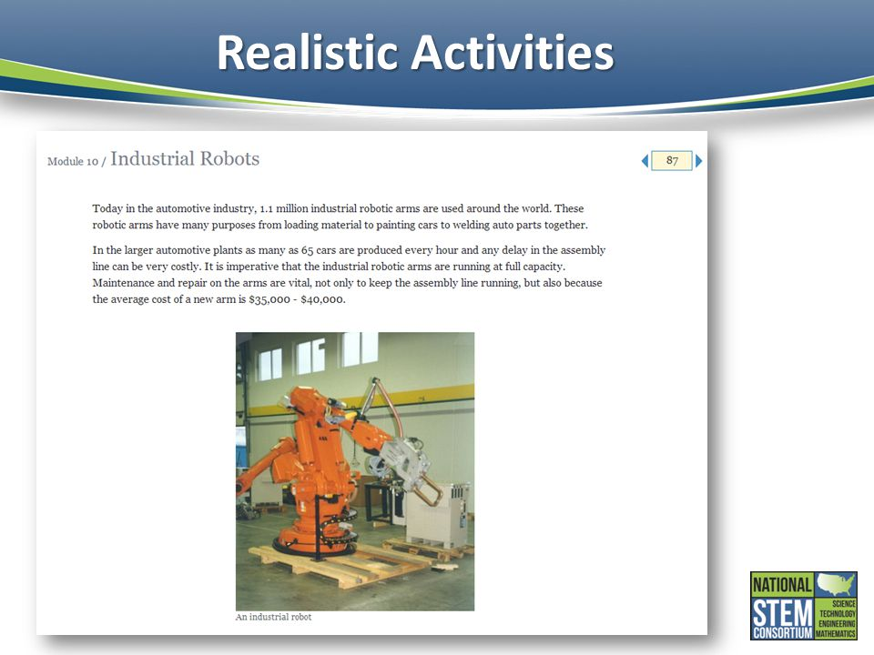 Realistic Activities The OLI Platform+ system allows the integration of photographs to help illustrate key concepts.