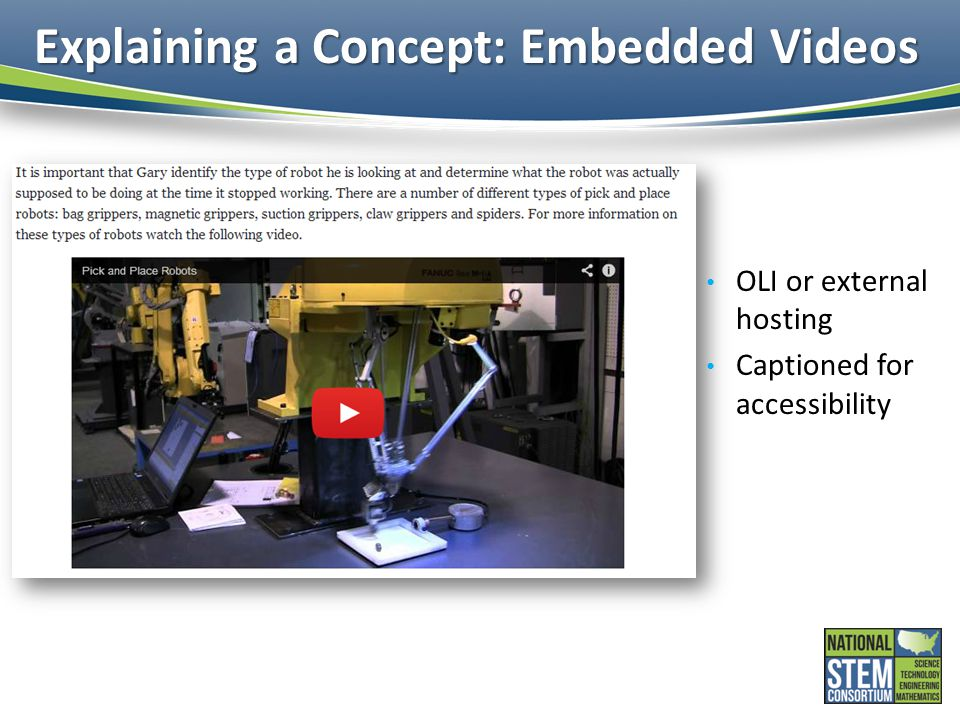 Explaining a Concept: Embedded Videos