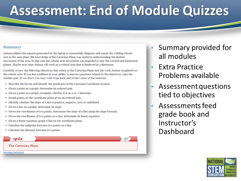 Assessment: End of Module Quizzes