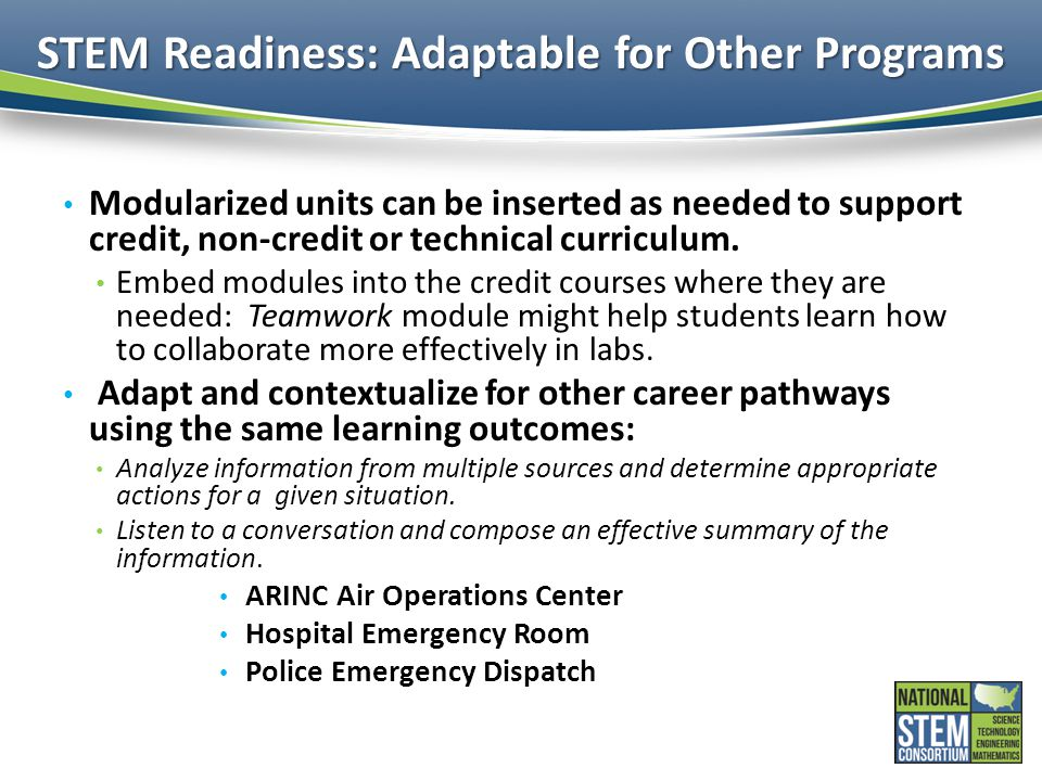 STEM Readiness: Adaptable for Other Programs