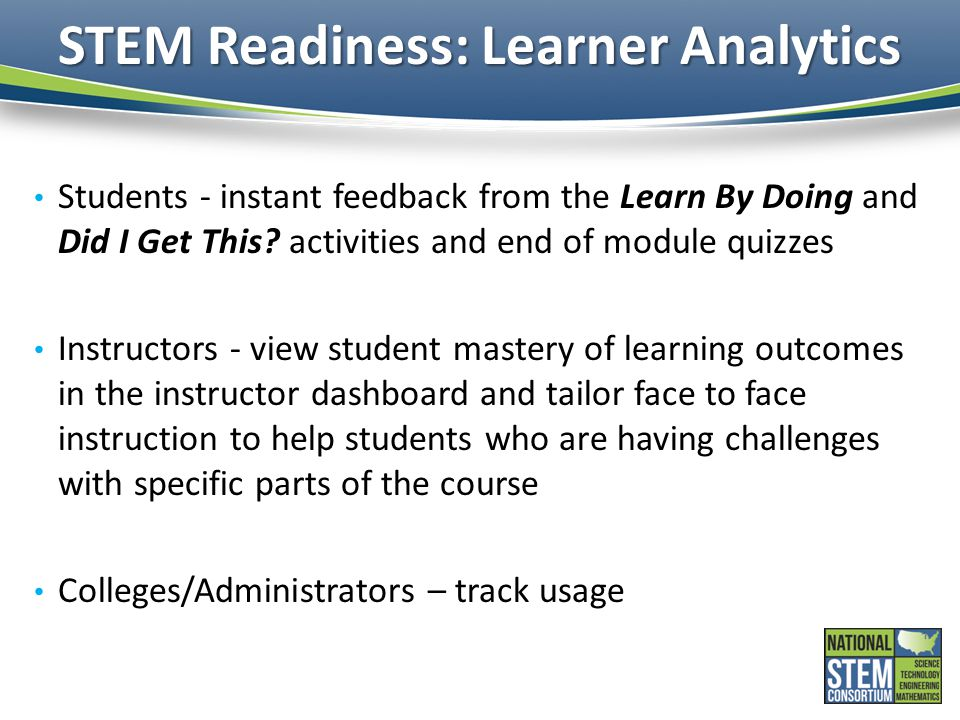 STEM Readiness: Learner Analytics