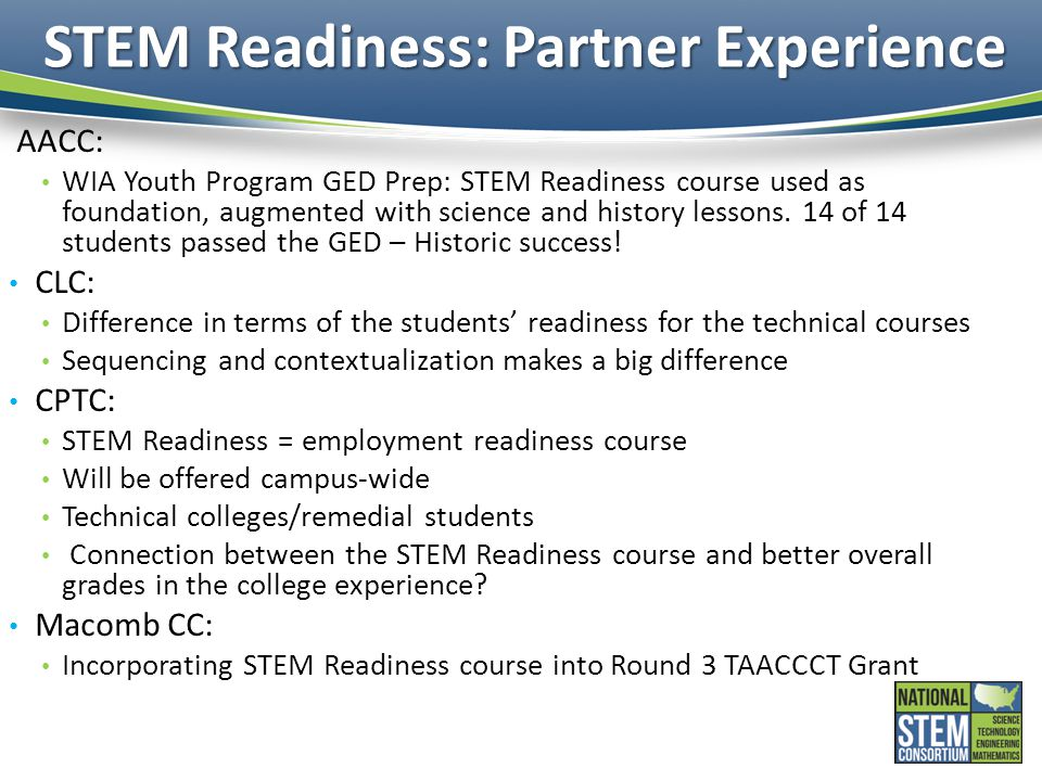 STEM Readiness: Partner Experience