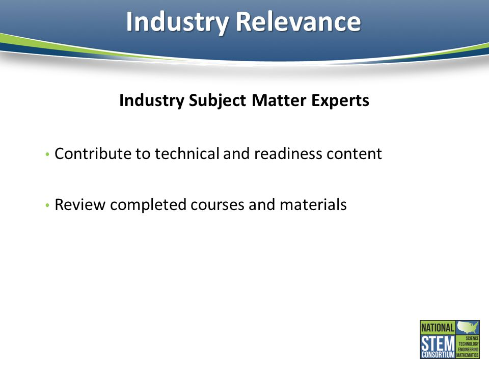 Industry Subject Matter Experts