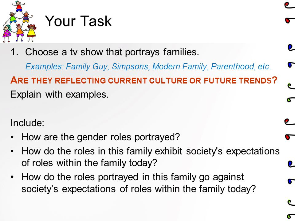 Your Task Choose a tv show that portrays families.