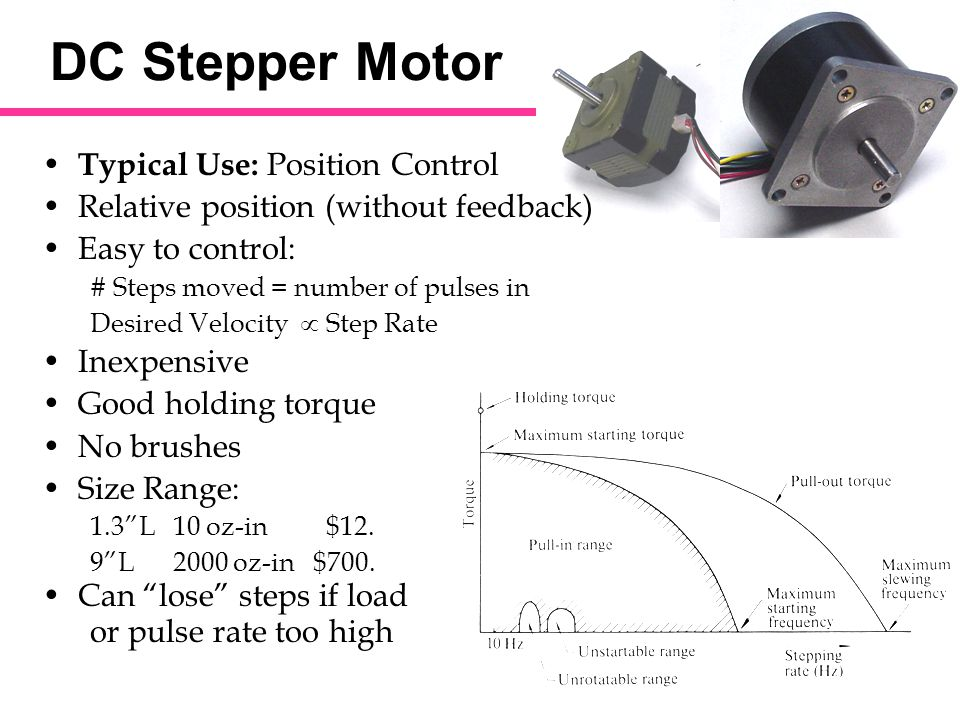 dc stepper motor typical use position control ppt video