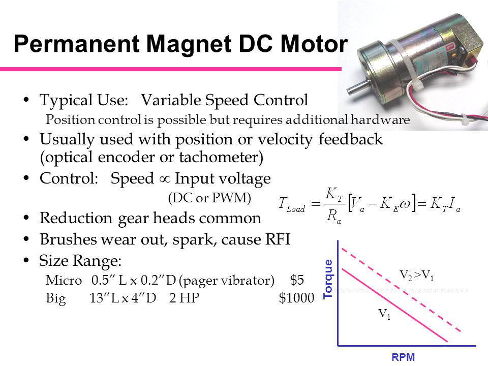 Dc stepper motor typical use position control ppt video for Surplus permanent magnet dc motors