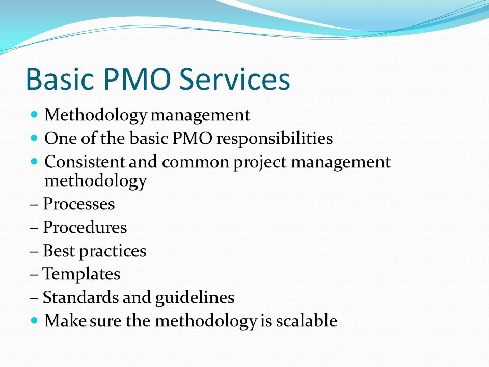 basic pmo services methodology management pmo responsibilities