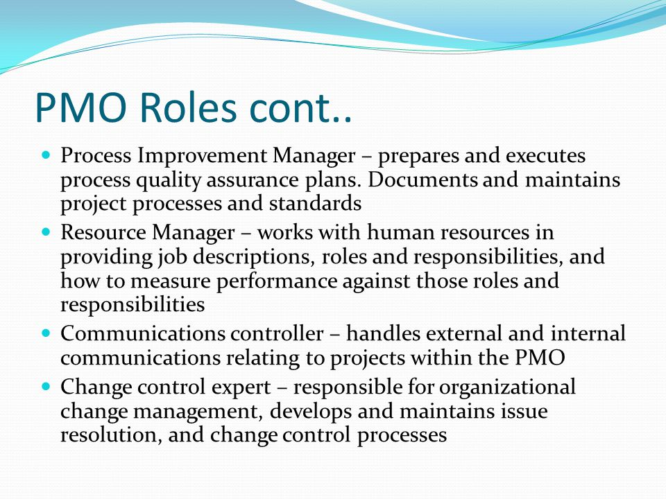Project management office pmo ppt video online download - Role of office manager in an organization ...