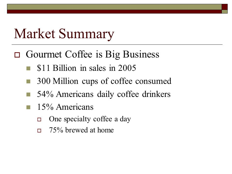 Market Summary Gourmet Coffee is Big Business