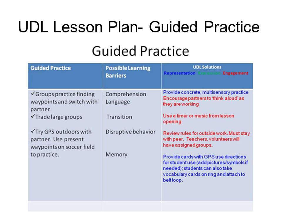 Udl lesson plan overview of udldifferentiated instruction for Ktip lesson plan template