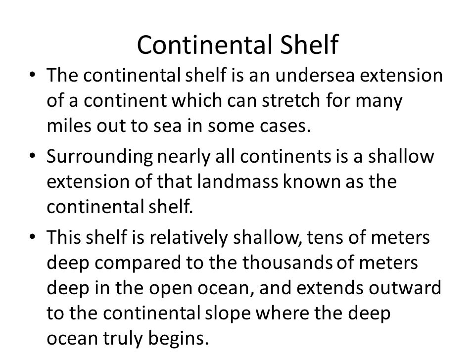 Continental Shelf The continental shelf is an undersea extension of a continent which can stretch for many miles out to sea in some cases.