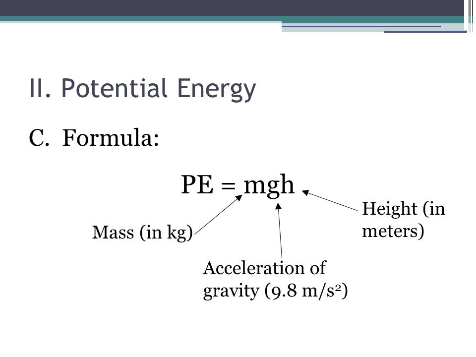 What Is The Mathematical Equation Of Potential Energy