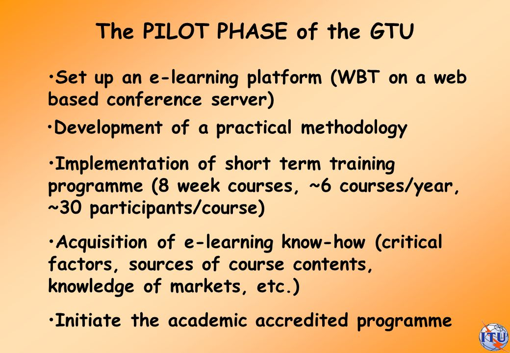 The PILOT PHASE of the GTU