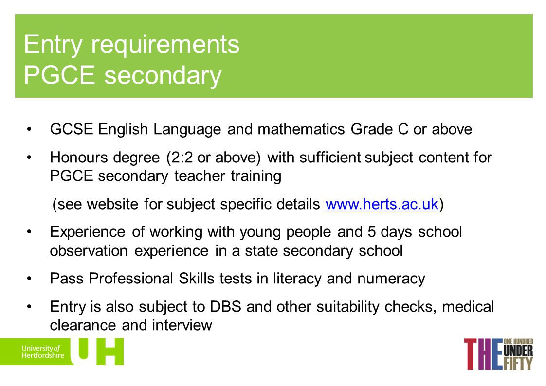 Entry requirements PGCE secondary
