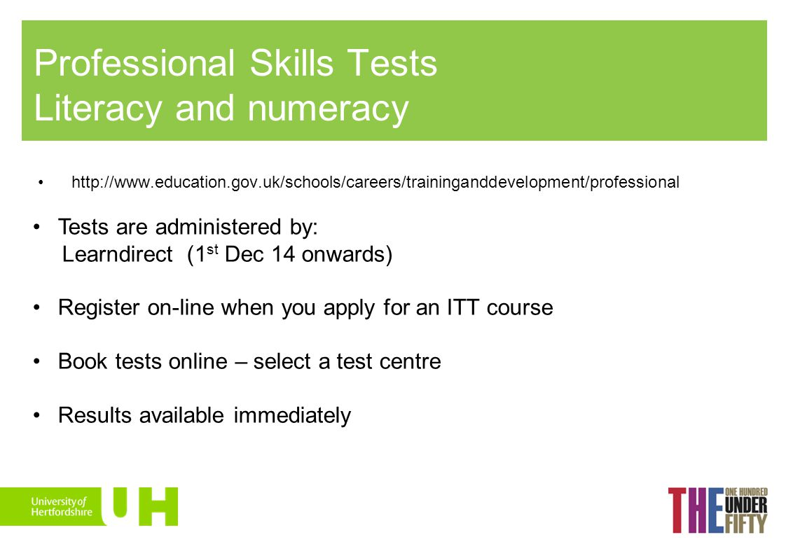 Professional Skills Tests Literacy and numeracy