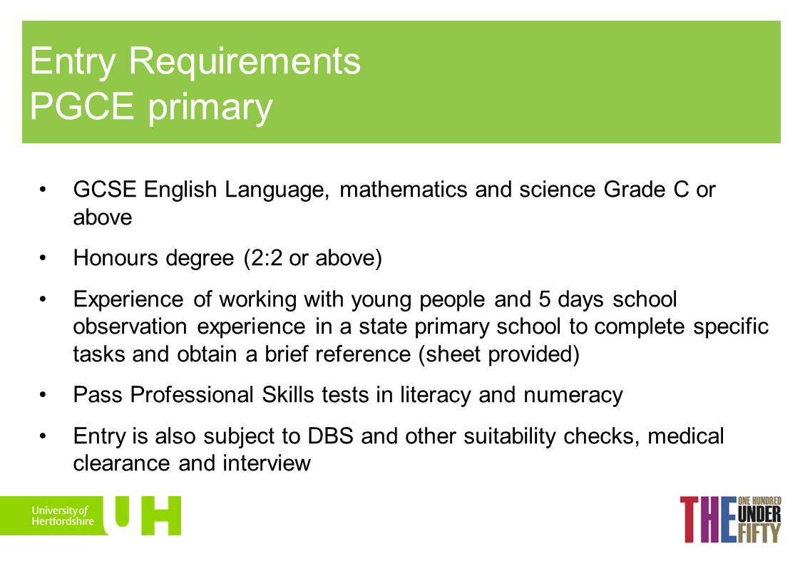 Entry Requirements PGCE primary