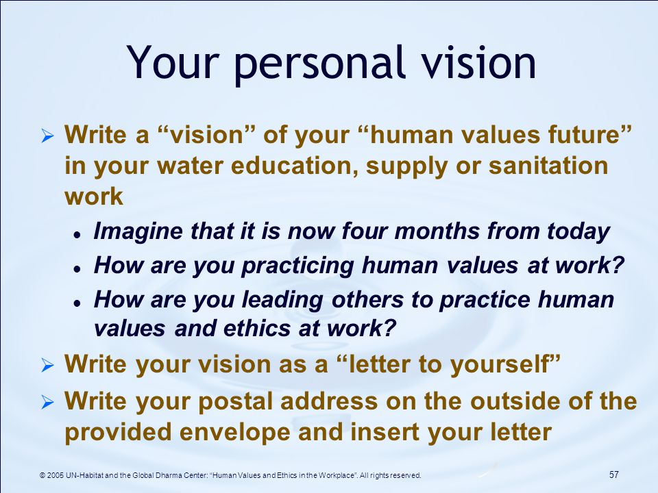 Human values and ethics in the workplace improving leadership and your personal vision write a vision of your human values future in your water education publicscrutiny