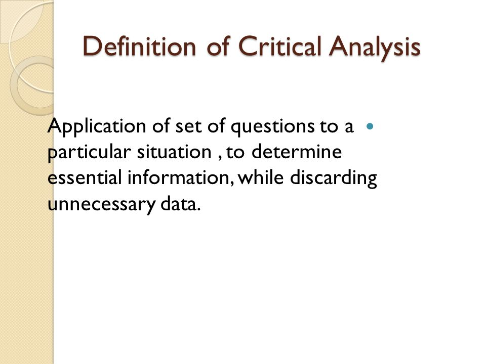 critical essay definition Sample outline for critical essay after the passage under analysis has been carefully studied, the critique can be drafted using this sample outline.