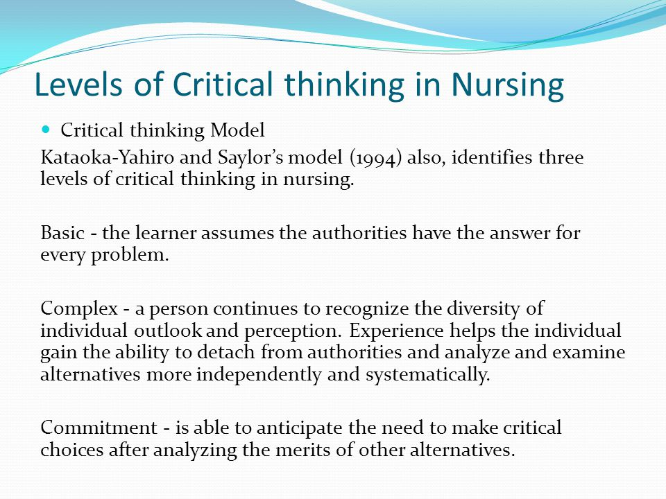 Stages of critical thinking in nursing