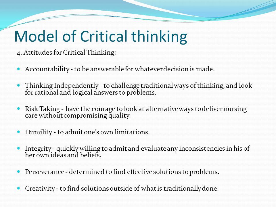 Critical thinking models in nursing