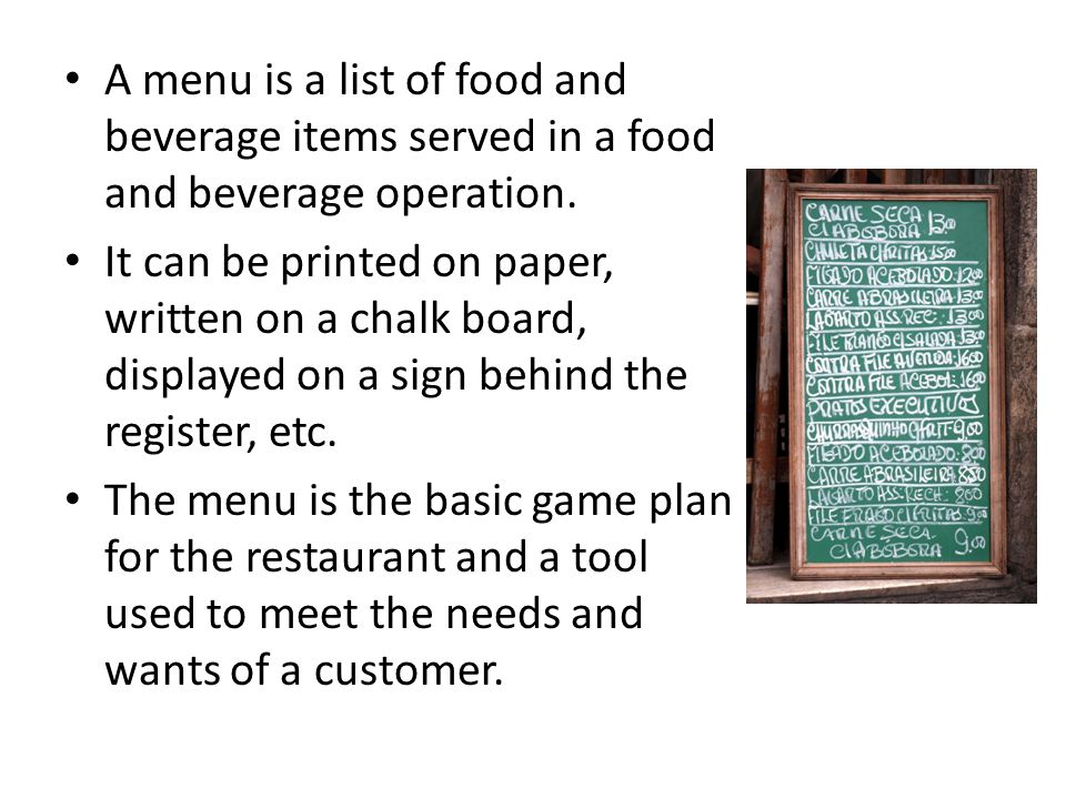 A Menu Is A List Of Food And Beverage Items Served In A Food And