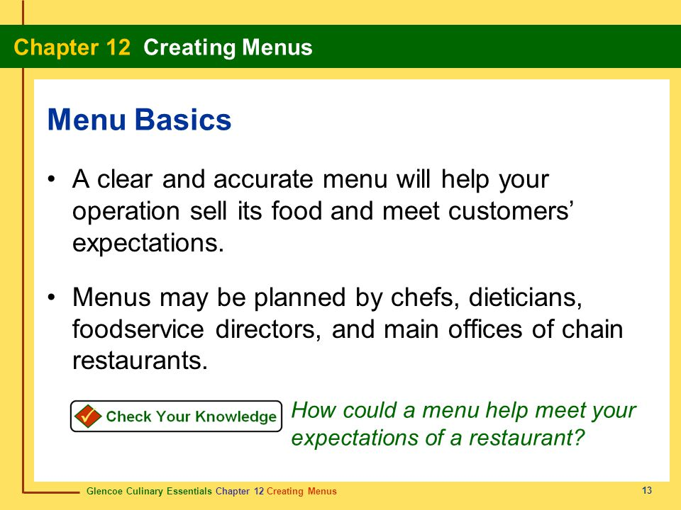 Menu Basics A clear and accurate menu will help your operation sell its food and meet customers' expectations.
