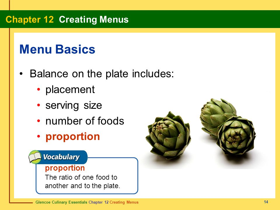 Menu Basics Balance on the plate includes: placement serving size