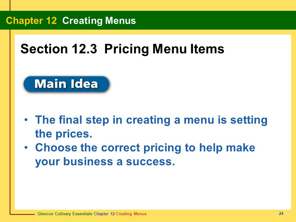 Section 12.3 Pricing Menu Items
