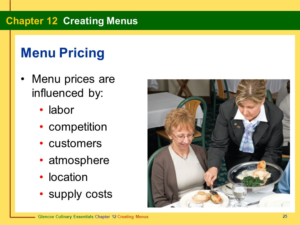 Menu Pricing Menu prices are influenced by: labor competition