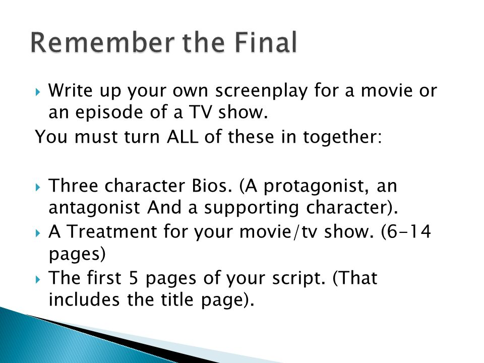 How to write a tv script treatment