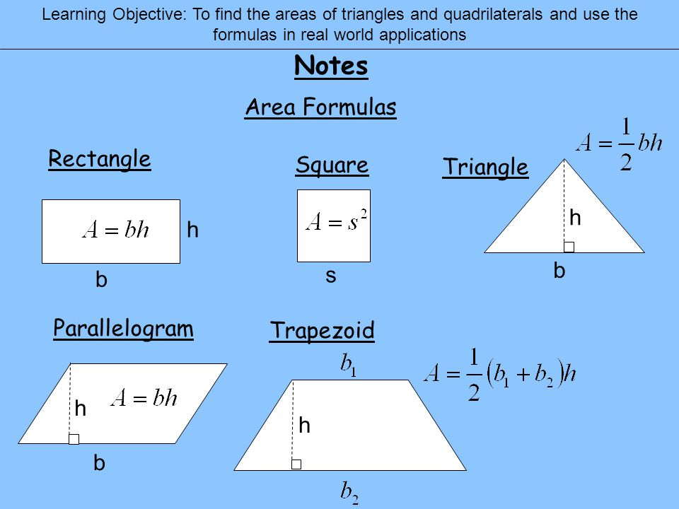74 areas of triangles and quadrilaterals ppt download notes area formulas rectangle square triangle h h b s b parallelogram ccuart Images