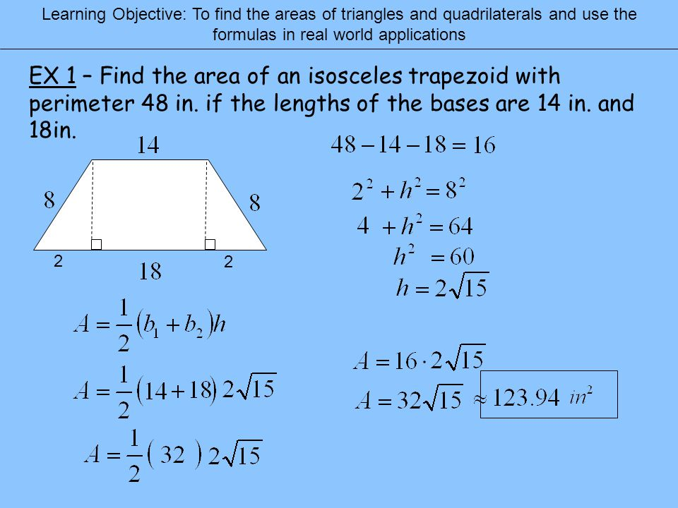 74 areas of triangles and quadrilaterals ppt download learning objective to find the areas of triangles and quadrilaterals and use the formulas in ccuart Images