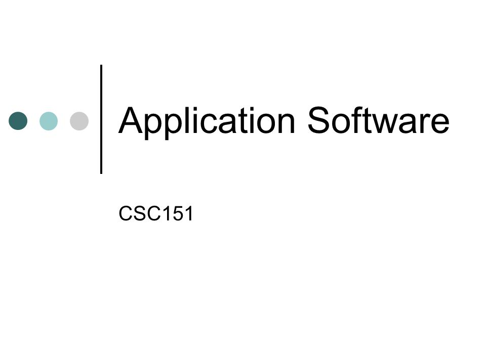 Application Software CSC151
