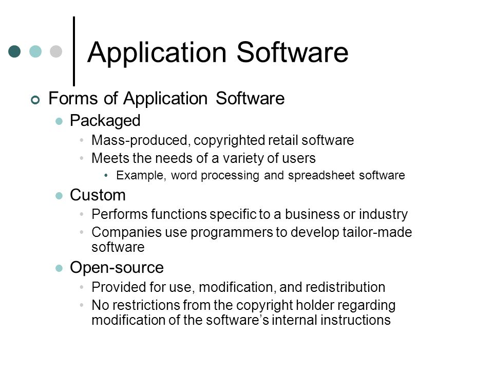 Application Software Forms of Application Software Packaged Custom