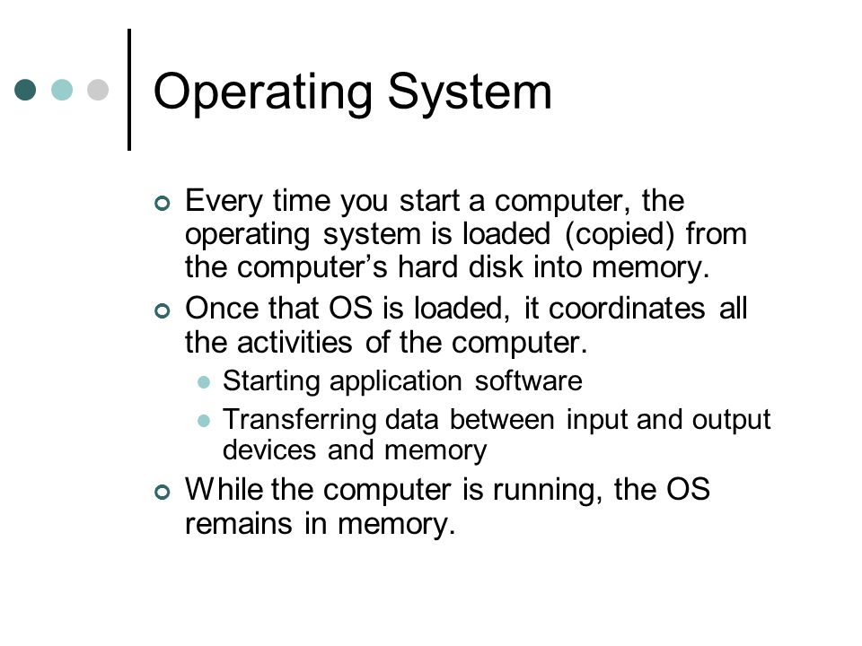 Operating System Every time you start a computer, the operating system is loaded (copied) from the computer's hard disk into memory.