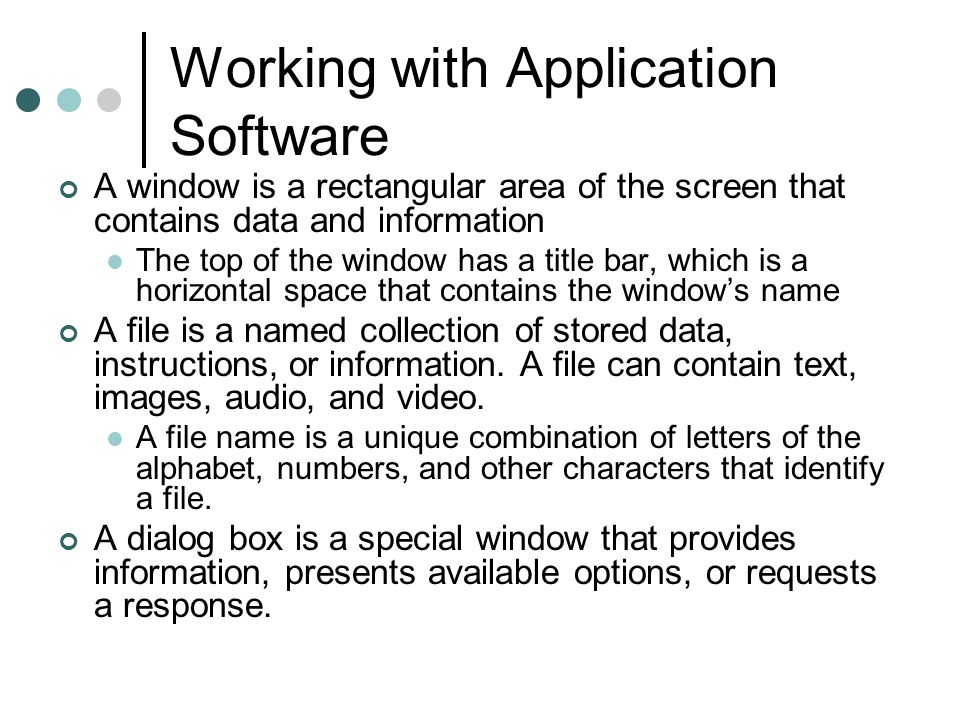 Working with Application Software