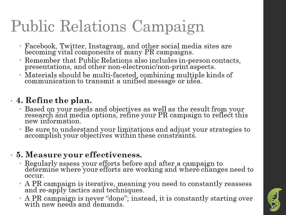public relations campaign essays Read public relations campaign: overview paper free essay and over 88,000 other research documents public relations campaign: overview paper in the us, military.