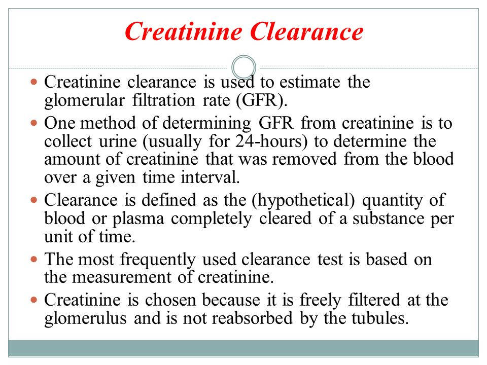 normal creatinine clearance and gfr relationship