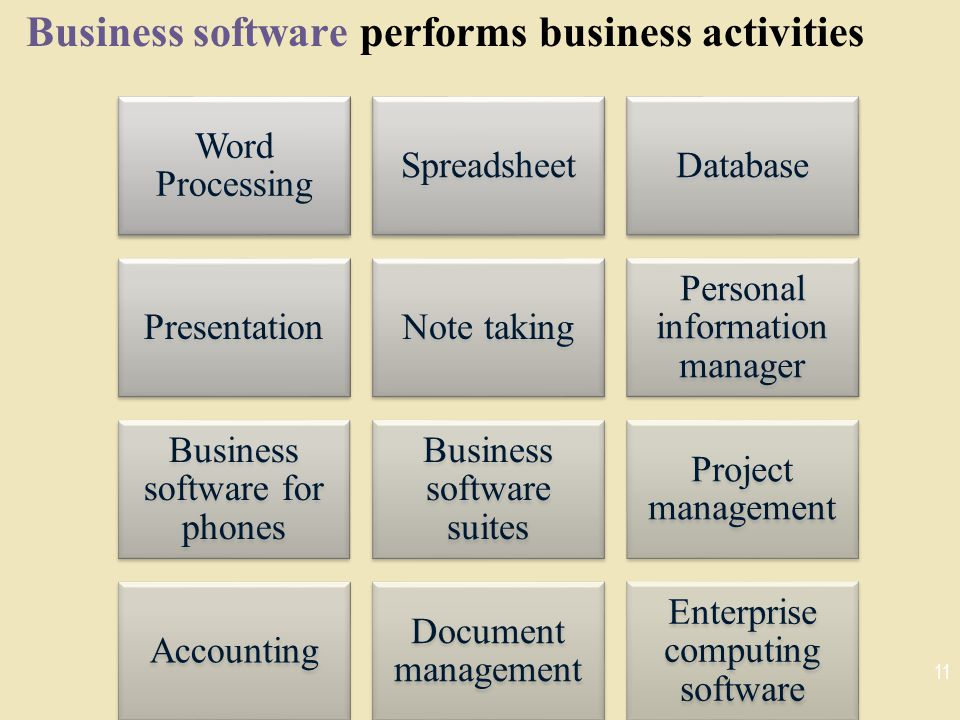 Business software performs business activities