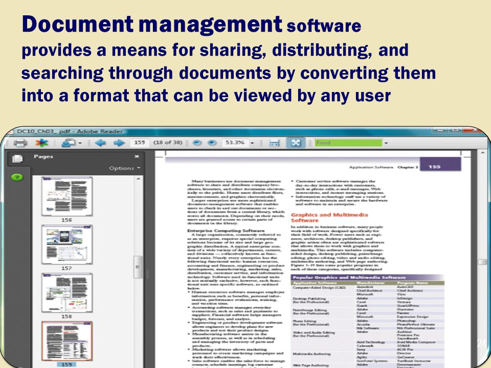 Document management software provides a means for sharing, distributing, and searching through documents by converting them into a format that can be viewed by any user