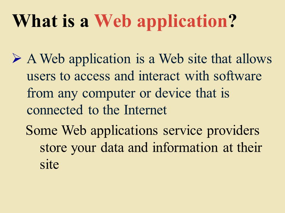 What is a Web application