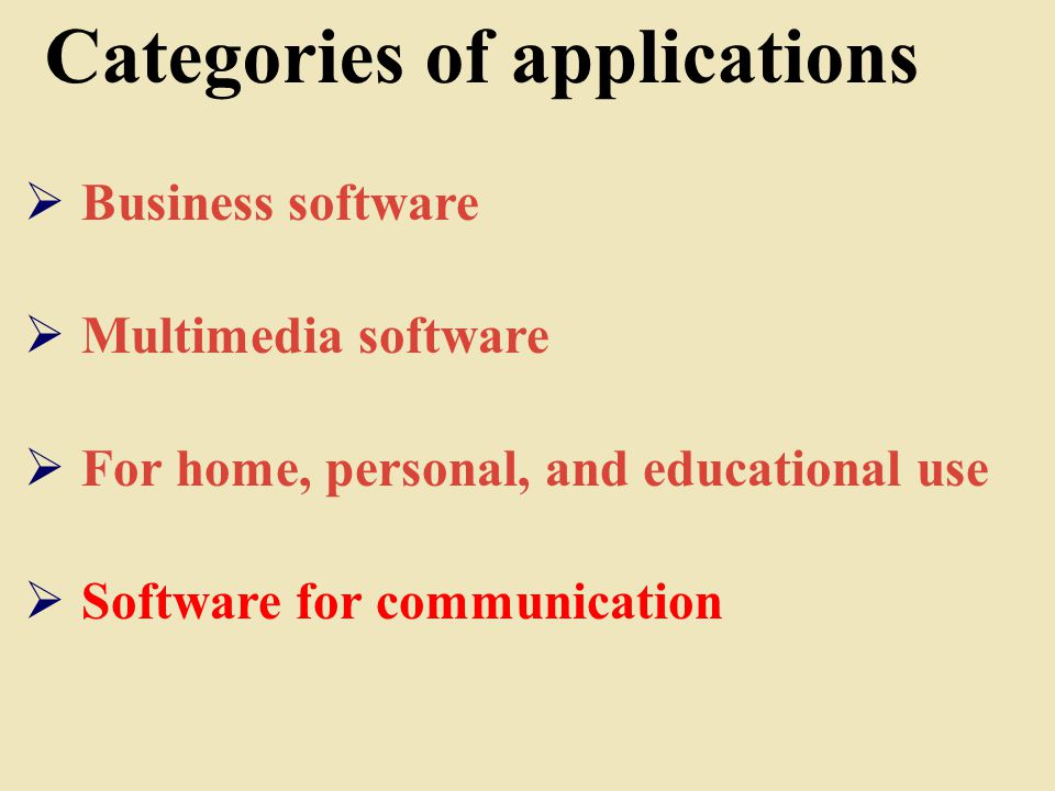 Categories of applications