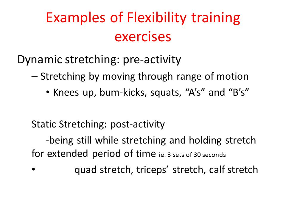 Examples of Flexibility training exercises