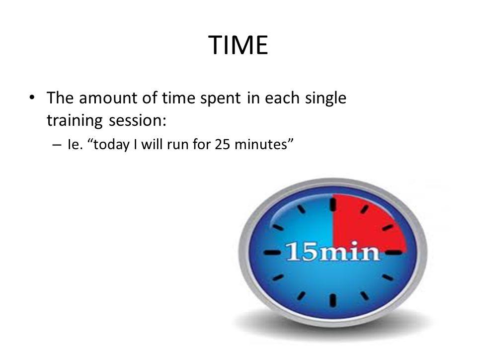 TIME The amount of time spent in each single training session: