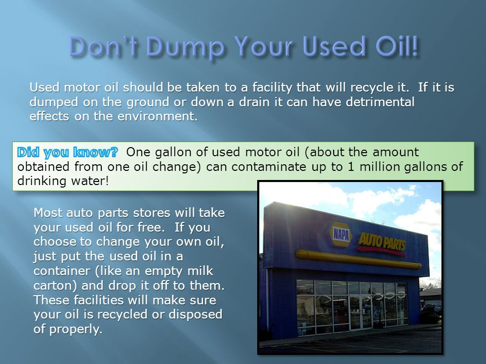 Engine lubrication cooling ppt video online download for Where can i drop off used motor oil