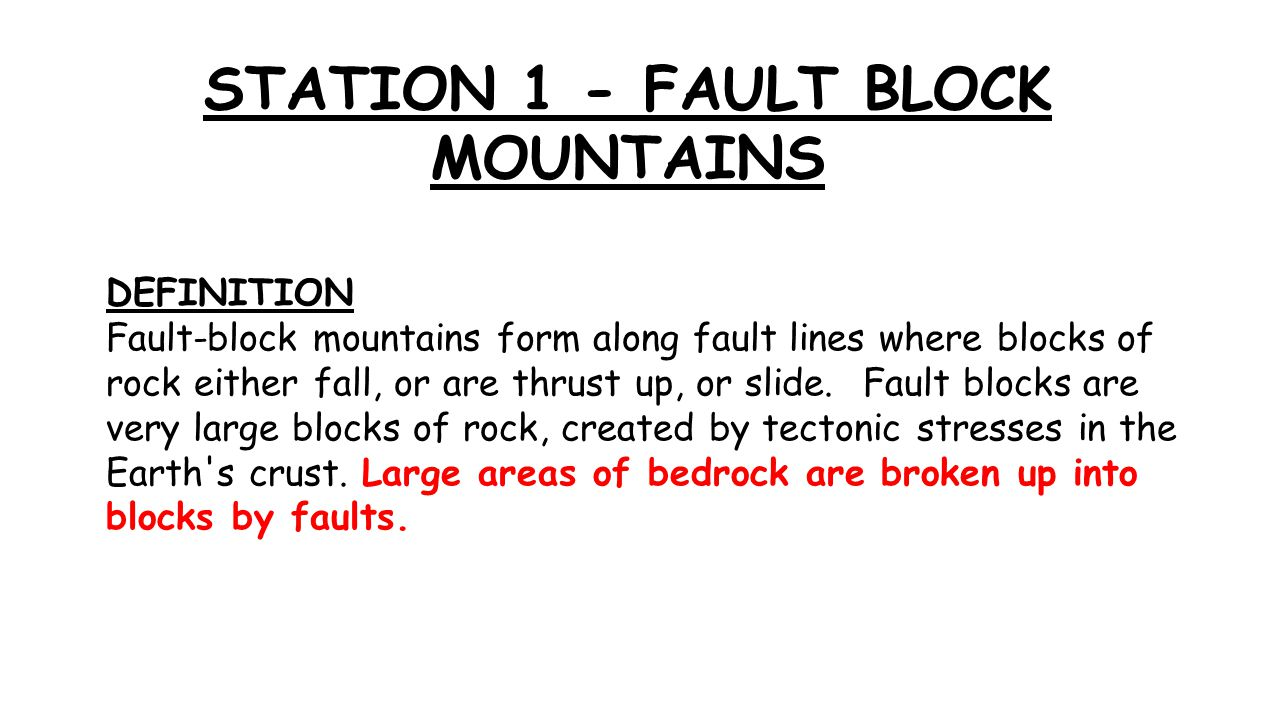 STATION 1   FAULT BLOCK MOUNTAINS