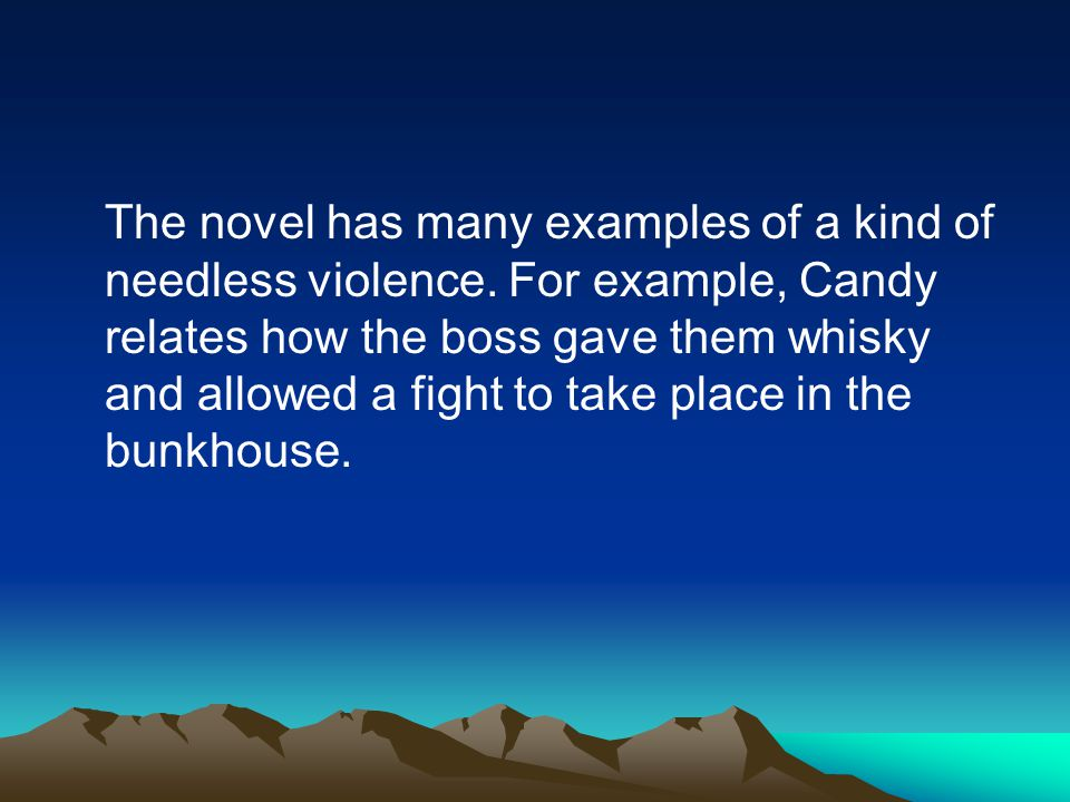 violence in of mice and men A secondary school revision resource for gcse english literature about the themes in john steinbeck's of mice and men.