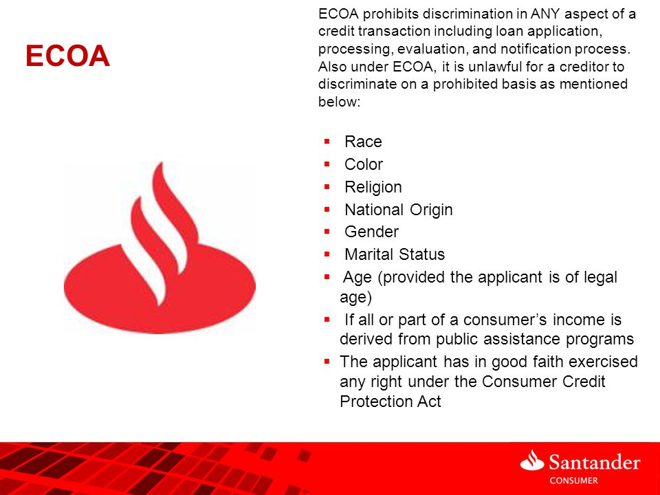 Adverse Action Notice >> Equal Credit Opportunity Act (ECOA) ppt video online download