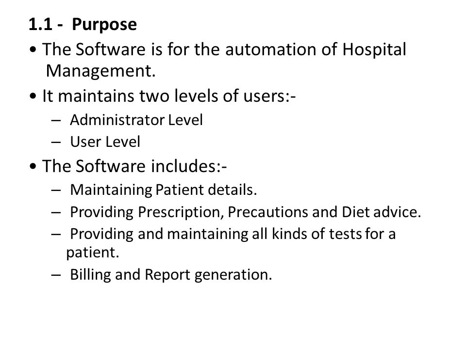 Software Requirement Specification Hospital Management