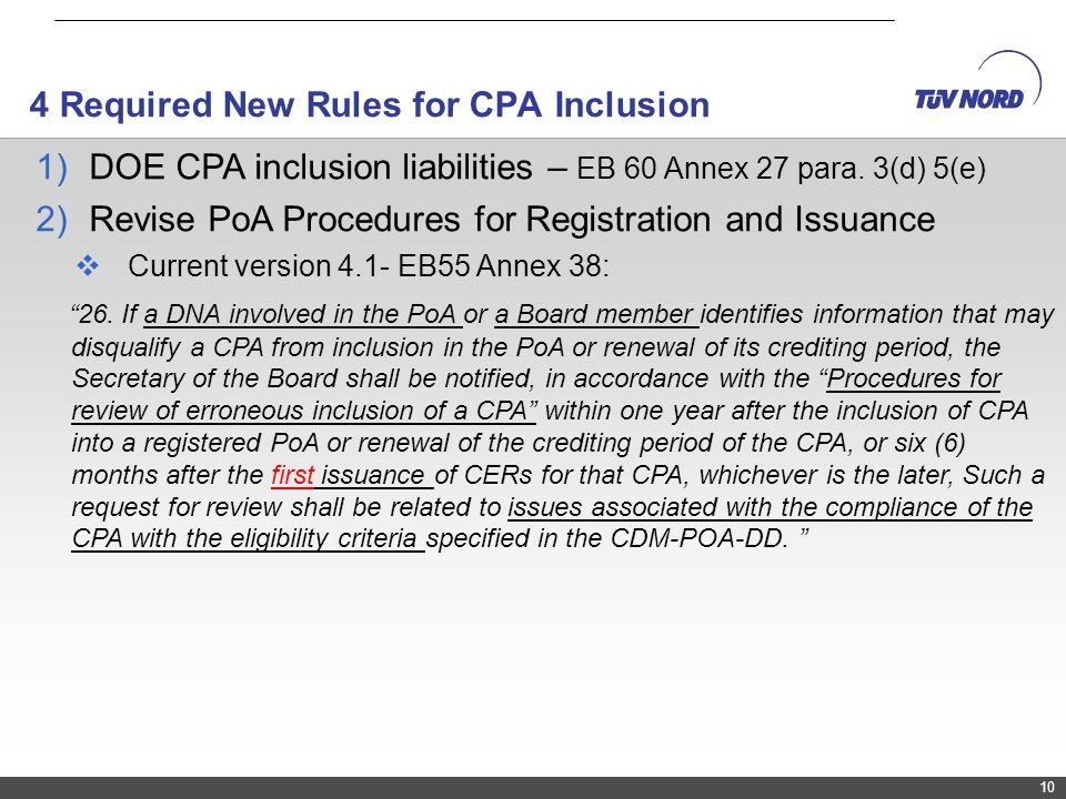 4 Required New Rules for CPA Inclusion